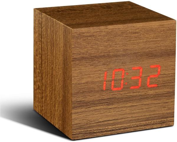Gingko Cube Teak Click Clock LED rot