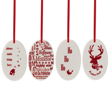 Hutschenreuther Merry Christmas Nordic red Set 4 Anhänger oval