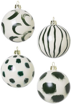 Ferm Living Christmas Hand Painted Glass Ornaments Green (100602640)