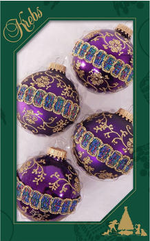 Krebs Lauscha Weihnachtskugel-Set mit Glitterband & Borte CBK90230 4er-Set