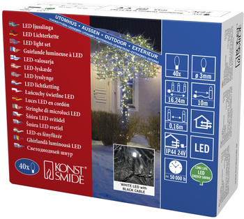 Konstsmide Micro-LED-Lichterkette 40er schwarz weiß (3610-200)