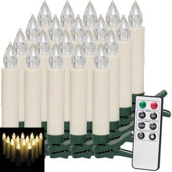 Deuba 20er Set LED Weihnachtsbaumkerzen mit Fernbedienung warmweiß (103453)