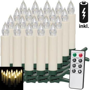 Deuba 20er Set LED Weihnachtsbaumkerzen mit Fernbedienung warmweiß (105264)