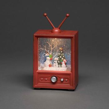 Konstsmide LED Fernseher mit 3 Schneemännern wassergefüllt (4373-000)
