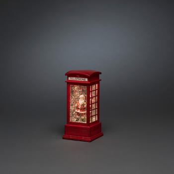Konstsmide LED-Szenerie Telefonzelle mit Weihnachtsmann LED Rot beschneit (4388-550)