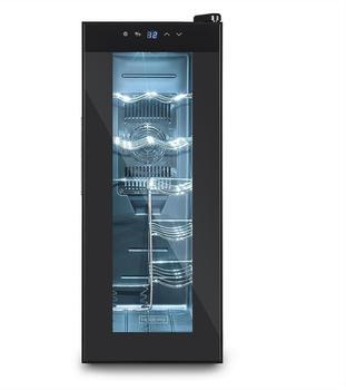 Hoberg Weinkühlschrank für 12 Flaschen, freistehender Weinschrank mit doppelwandiger Temperglastür & beleuchtetem Innenraum, Touch-Bedienfeld mit LED-Display, geräuscharm