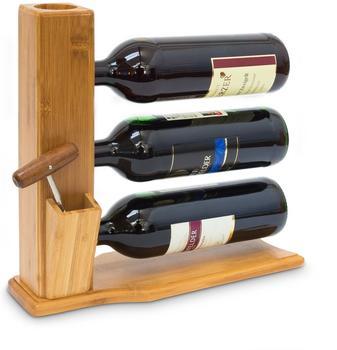 Relaxdays Bambus Weinregal 3 Flaschen