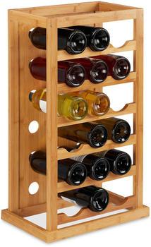 Relaxdays Weinregal, platzsparende Weinablage für 18 Flaschen, Flaschenregal aus Bambus, HBT 66,5 x 39 x 25,5 cm, natur