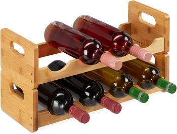 Relaxdays Weinregal, platzsparende Weinablage für 8 Flaschen, quer, Flaschenregal aus Bambus, HBT 24 x 47 x 18 cm, natur