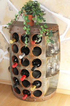 DanDiBo Weinregal Weinfass Nr.1486 Beistelltisch Schrank Fass aus Holz 72 cm Weinbar Bar