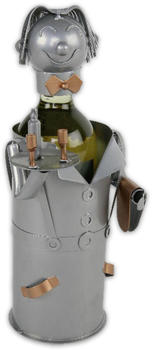 michel toys Dekorativer Weinflaschenhalter aus Metall Modell KELLNER silber kupfer 2farbig