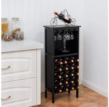 Costway Weinflaschenhalter, Für 20 Flaschen, Mit Glasaufhänger, Schwarz
