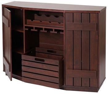 MCW Weinregal -F67, Höhenverstellbare Einlegeböden, 1X Kiste Herausnehmbar, Halterungen Für Flaschen Und Gläser, Braun