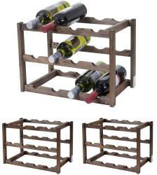 Mendler Weinregal Hwc-B58, Flaschenregal Weinständer Weinhalter, Tanne 3 Böden 3 Stück