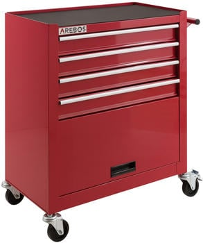 Arebos Werkstattwagen 4 Fächer + 1 Kabinett rot