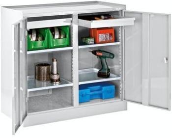 Certeo Werkzeugschrank - mit Mitteltrennwand 2 Schubladen 4 Fachböden - lichtgrau RAL 7035