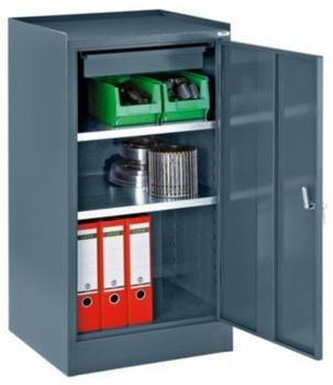 Certeo Werkzeugschrank - mit 1 Schublade 2 Fachböden HxBxT 1000 x 500 x 500 mm - blaugrau RAL 7031
