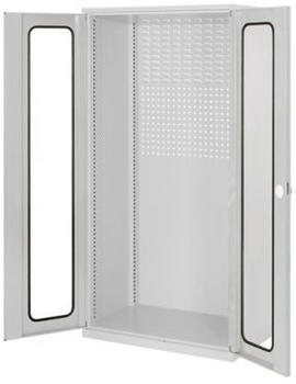 Certeo RasterPlan Lochplattenschrank mit Sichtfenstern HxBxT 1950 x 1000 x 600 mm Grau