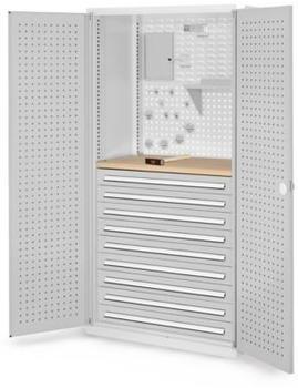Certeo RasterPlan Lochplatteenschrank mit 9x Schubladen und Fachboden HxBxT 1950 x 1000 x 600 mm Grau