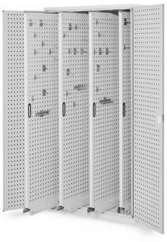 Certeo RasterPlan Vertikalschrank Modell 83 1950 x 1000 x 600 mm RAL 7035 Türinnenseite: RasterPlan Lochplatten 4 Auszüge Lochplatten