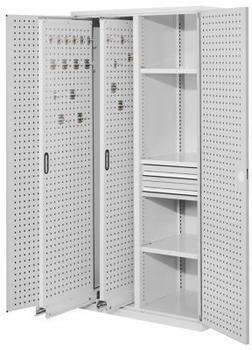 Certeo RasterPlan Vertikalschrank Modell 81 1950 x 1000 x 600 mm RAL 7035 Türinnenseite: RasterPlan Lochplatten 2 Auszüge Lochplatten 3 Fachböden 2