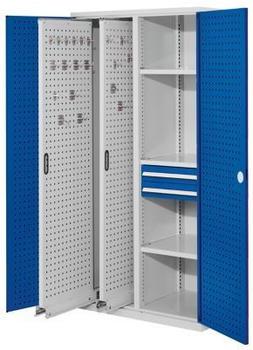 Certeo RasterPlan Vertikalschrank Modell 81 1950 x 1000 x 600 mm RAL 7035/5010 Türinnenseite: RasterPlan Lochplatten 2 Auszüge Lochplatten 3 Fachböden