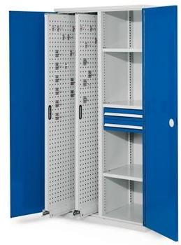 Certeo RasterPlan Vertikalschrank Modell 81 1950 x 1000 x 600 mm RAL 7035/5010 Doppelwandtür 2 Auszüge Lochplatten 3 Böden 2 Schubladen 100 mm
