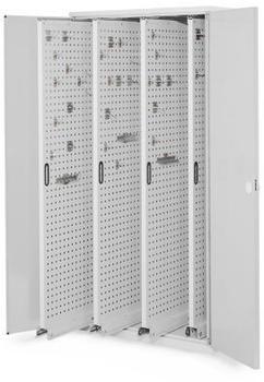 Certeo RasterPlan Vertikalschrank Modell 83 1950 x 1000 x 600 mm RAL 7035 Doppelwandtür 4 Auszüge Lochplatten