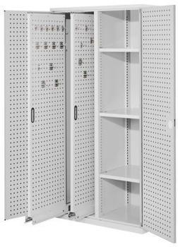 Certeo RasterPlan Vertikalschrank Modell 80 1950 x 1000 x 600 mm RAL 7035 Türinnenseite: RasterPlan Lochplatten 2 Auzüge Lochplatten 3 Böden