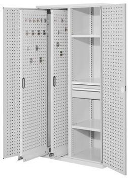 Certeo RasterPlan Vertikalschrank Modell 82 1950 x 1000 x 600 mm RAL 7035 Türinnenseite: RasterPlan Lochplatten 2 Auszüge Lochplatten 3 Fachböden 1