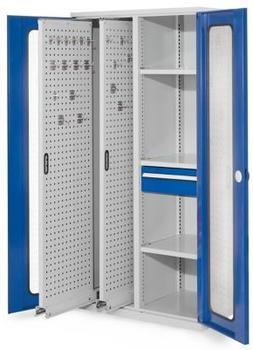 Certeo RasterPlan Vertikalschrank Modell 82 1950 x 1000 x 600 mm RAL 7035/5010 Sichtfenstertür 2 Auszüge Lochplatten 3 Böden 1 Schublade 175 mm