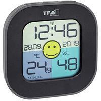 tfa-dostmann-digitales-thermo-hygrometer-fun-inkl-funkuhr-mit-datum-smiley-komfortzonenindikator-zur-raumklimakontrolle-schwarz