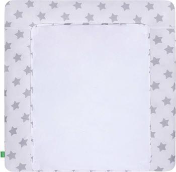 Lulando Wickelauflage mit 2 Bezügen, rosa / graue Sterne auf weiß