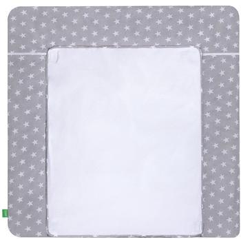 Lulando Wickelauflage mit 2 Bezügen Sternchen grau 75 x 80 cm