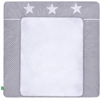 LULANDO Wickelauflage mit 2 Bezügen. Pünktchen grau - Sterne 75 x 80 cm