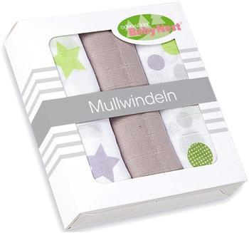 Odenwälder Mullwindel Kreise und Sterne 80 x 80 cm 3 Stück Taupe