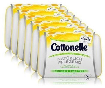 Cottonelle Feuchte Toilettentücher Natürlich Pflegend Kamille & Aloe Vera 6 x 42 Stück