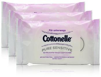 Cottonelle 3x Cottonelle feuchte Toilettentücher Pure Sensitive Parfüm-Frei 12 Tücher für unterwegs