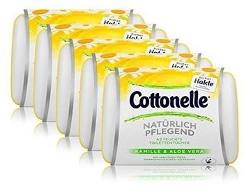 Cottonelle 5x Hakle Cottonelle feuchte Toilettentücher Kamille & Aloe Vera 42 Tücher, Starterset