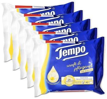 Tempo 5x Tempo Feuchte Toilettentücher sanft & pflegend Nachfüllpackung, mit Kamille 42er