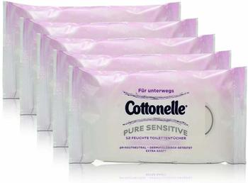 Cottonelle 5x Cottonelle feuchte Toilettentücher Pure Sensitive Parfüm-Frei 12 Tücher für unterwegs