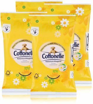 Cottonelle 4x Cottonelle feuchte Toilettentücher Kamille & Aloe Vera 12 Tücher für unterwegs