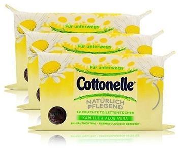 Cottonelle 3x Cottonelle feuchte Toilettentücher Kamille & Aloe Vera 12 Tücher für unterwegs