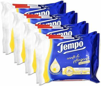 Tempo 4x Tempo Feuchte Toilettentücher sanft & pflegend Duo-Nachfüllpackung, mit Kamille 2x42er