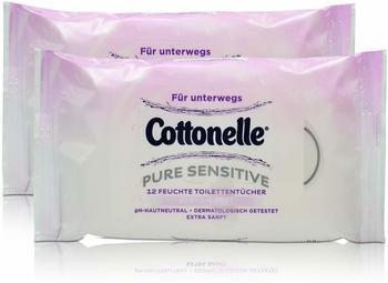 Cottonelle 2x Cottonelle feuchte Toilettentücher Pure Sensitive Parfüm-Frei 12 Tücher für unterwegs