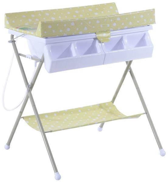 HomCom Baby Wickeltisch mit Badewanne Gelbgrün