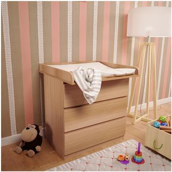Polini Kids Wickelaufsatz für Kommode MALM IKEA aus Holz weiß,3041-04