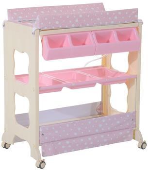 Homcom Baby Wickeltisch Wickelkommode mit Badewanne Wickelauflage Mobil rosa