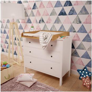 Polini Kids Wickelaufsatz für Kommode Hemnes IKEA buche, 1412.2