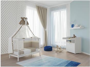Polini Kids Babyzimmer Set Gitterbett mit Wickelkommode weiß